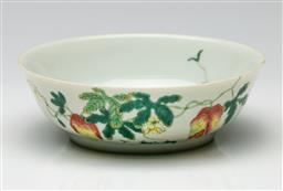 Sale 9192 - Lot 90 - A Chinese Shallow Bowl Decorated with Flora and Insecta (Dia 14cm)