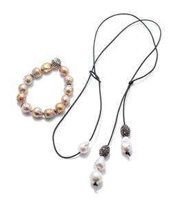 Sale 9253J - Lot 523 - A BAROQUE PEARL LARIAT AND BRACELET; 12-13mm cultured gold baroque pearl bracelet with a 13.5mm pierced ball and four 5mm wide beads...