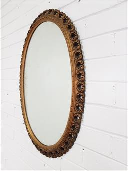 Sale 9240 - Lot 1060 - Oval timber framed mirror (h:77 x w:53cm)