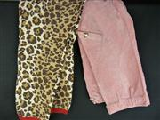 Sale 7982B - Lot 132 - Two pairs of Moschino knee-length pants; Moschino Cheap and Chic leopard print with red trim (USA 6), Moschino Jeans dusty pink (USA 4)