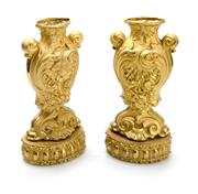 Sale 8202A - Lot 70 - A pair of Antique French gilt metal vases on stands in the Renaissance style, H 32cm