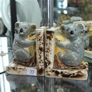 Sale 8236 - Lot 55 - Koala Slip Cast Pair of Bookends