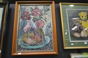 Sale 8250C - Lot 2006 - Rose Morris (Smee), Still Life with Flowers & Fruit, SLL,
