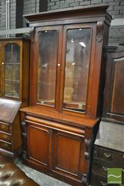 Sale 8345 - Lot 1061 - Victorian Mahogany Bookcase, with two glass panel doors, long drawer & two panel doors