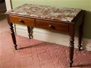 Sale 8418A - Lot 26 - A cedar two drawer servery table with an associated bresciated marble top on turned legs, H 76 x W 116 x D 56cm