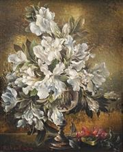Sale 8538 - Lot 504 - Robert Cox (1934 - 2001) - Still Life - White Flowers, 1970 19 x 15.5cm
