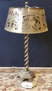 Sale 9014 - Lot 1056 - Vintage Brass Double Helix Table Lamp, with pierced silhouette & chased shade in an antique style (h:58cm)
