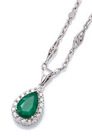 Sale 9066A - Lot 22 - AN EMERALD AND DIAMOND PENDANT NECKLACE; 18ct white gold cluster pendant centring an approx. 1.30ct pear cut emerald surrounded by 1...