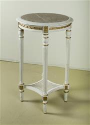 Sale 9087H - Lot 74 - Vintage French painted side table with fitted marble top. 73 T x 42 cm Dia