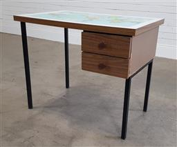 Sale 9188 - Lot 1606 - Timber kneehole desk with world map top (h:73 w:88 d:58cm)