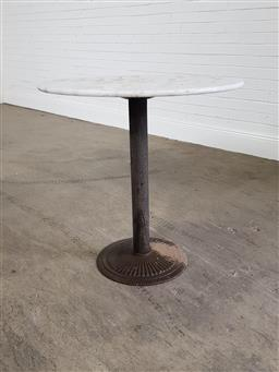 Sale 9255 - Lot 1409A - Marble top table over metal base (h:78 x d:80cm)