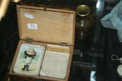 Sale 7917 - Lot 75 - Timber Card Box Featuring Childrens Card Game & a Cloisonne Vase