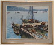 Sale 7981B - Lot 30 - Leonard Long (1911-2013), 'Among the Sampans, Hong Kong 1964', oil on canvas, 61 x 75cm, signed and dated lower right.