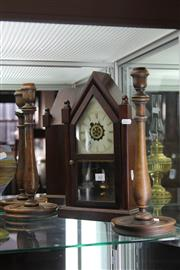 Sale 8189 - Lot 62 - Canterbury Timber Steeple Clock & Candlesticks