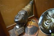 Sale 8214 - Lot 2398 - Carved Tribal Mask, PNG Display Plate & Balinese Bust