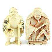 Sale 8244 - Lot 45 - Ivory Carved Netsuke Figures