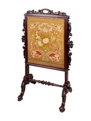 Sale 8379A - Lot 79 - A William IV carved mahogany fire screen with its original tapestry.  English circa 1840s  H: 116cm W: 72cm 52cm