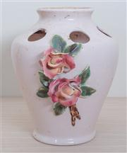 Sale 8430 - Lot 18 - A Pates Sydney pottery flower arranging vase (chip to rose). Height 27cm.