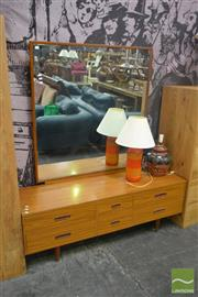 Sale 8550 - Lot 1305 - Retro Mirrored Back Dresser with Six Drawers