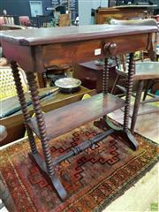 Sale 8570 - Lot 1091 - Tiered Timber Side Table with Barley Twist Supports
