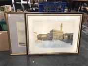 Sale 8833 - Lot 2091 - 2 Works: Watercolour of Piazza della Signoria together with a Boat Scene by Various Artists