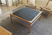 Sale 8858H - Lot 7 - Timber Coffee Table with Woven Leather Top, H 43 x W x 89 x D 89 cm, as new -