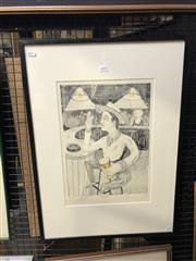 Sale 8861 - Lot 2032 - Bill Hay - Drinker hand-coloured lithograph ed. AP, 69 x 50cm (frame), signed