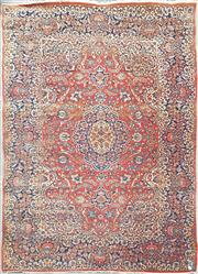 Sale 8882 - Lot 1060 - Isfahan Wool Carpet, with floral arabesques, the undulating border design & carnations, in darker tones (301 x 213 cm)