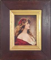 Sale 8973 - Lot 2012 - Artist Unknown Women with Red Cap oil on composition board, 47 x 41cm (frame) unsigned