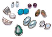 Sale 9010H - Lot 53 - Six pairs of silver stone set clip earrings and three pendants including cultured baroque osmena pearls, moonstone and malachite