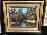 Sale 9024 - Lot 2038 - John Emmett (1927 - ) Autumn Reflections, Cox River Blue Mountains, oil on canvas laid on board, 29 x 34cm signed lower right -