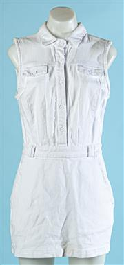 Sale 9090F - Lot 132 - A BEC & BRIDGE DENIM DRESS; in white with collar and pockets to each side, size 8