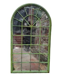 Sale 9123J - Lot 371 - A large arch form iron window frame with aged weathered bronze finish and fitted with mirrors, height 180 x 104cm