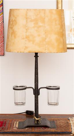 Sale 9160H - Lot 203 - A two branch metal based lamp with vellum shade and two glass holders, Height 80cm