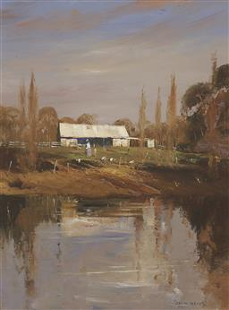 Sale 9184A - Lot 5003 - COLIN PARKER (1941 - ) Autumn Reflections at Agnes Bank, NSW oil on board 60 x 44.5 cm (frame: 84 x 69 x 4 cm) signed lower right, t...