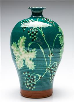 Sale 9238 - Lot 13 - A handpainted glazed terracotta vase featuring ribbing and relief grapevine to body (H:24cm)