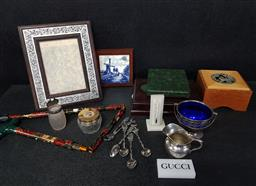 Sale 9254 - Lot 2119 - Box of Sundries incl Delft Tile, Spoons, Collapsible Walking Stick, etc