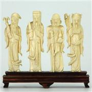 Sale 8162 - Lot 42 - Ivory Carved Four Traditional Immortal Figures on Stand
