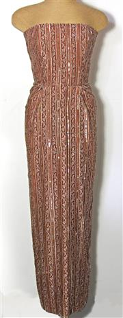 Sale 8173F - Lot 405 - A VINTAGE CHRISTOPHER ESSEX SEQUINED EVENING DRESS; late 70s (S).