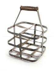 Sale 8224A - Lot 34 - An old French four bottle metal carrier, 33 cm x 24 cm