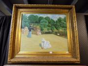 Sale 8422T - Lot 2035 - Artist Unknown, Children Playing, oil on canvas, 50 x 60cm, unsigned