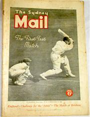 Sale 8460C - Lot 63 - The Sydney Mail front cover plus 4 page story of First Test Wednesday December 9, 1936. Very good.