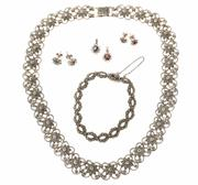 Sale 8517 - Lot 314 - SILVER MARCASITE AND STONE SET JEWELLERY; floral link collar necklace, length 45cm, bracelet 18cm, 2 stone set pendants and 2 pairs...