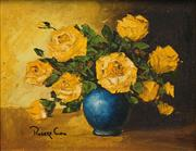 Sale 8548 - Lot 2022 - Robert Cox (1934 - 2001) - Still Life - Yellow Roses 19 x 24.5cm