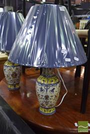 Sale 8532 - Lot 1390 - Pair of French Provincial Table Lamps in Blue & Yellow (4020)