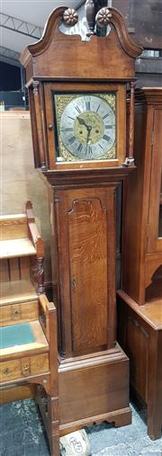 Sale 8714 - Lot 1014 - George III Oak Longcase Clock, with engraved brass dial signed H. Watson, Blackburn, silvered chapter ring & subsidiary date, having...