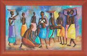 Sale 8973 - Lot 2044 - Digna, African Village Feast Scene oil on canvas board, 55.5 x 94 cm (frame: 108 x 69 x 3 cm), signed lower left