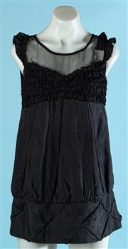 Sale 9090F - Lot 178 - A MARC JACOBS SLEEVLESS BLOUSE; with sheer scoop neck and ruched design to sleeves and chest, size L