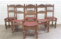 Sale 9102 - Lot 1070 - Set of Six 17th Century Style Carved Oak Dining Chairs, with shaped bars, leather seat & turned legs (h:90 x w:45 x d:40cm)