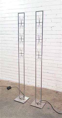 Sale 9102 - Lot 1176 - Pair of modern metal floor lamps with glass cubed shades (h:175cm)
